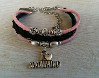 I Love Swimming Charm Bracelet for Girls// Pink & Black Stacking Friendship Bracelet// Teen Sports Bracelet// Choose Cord Colors and Charm