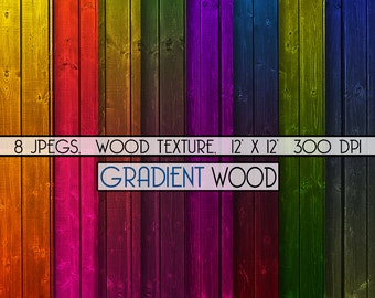 """Digital paper wood: """"Wooden gradient paper"""" perfect for graphic design and scrapbooking, item C108"""
