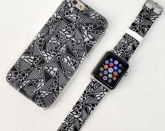 Patch Work IPhone Case Apple Watch Band 38mm 42mm Gift Set 8