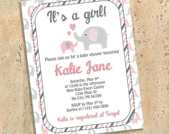 Pink and Gray Elephant Baby Shower Invitations - Stripes - Baby Girl - Printed Baby Shower Invites - Customized Personalized Grey and Pink