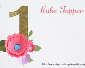 Handmade Birthday Paper Flower Cake Topper