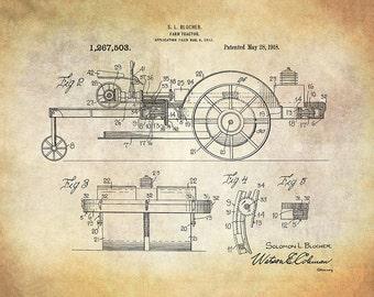 Vintage Farm Tractor Patent Art Print - Agricultural Patent Print - Farm Equipment Patent Art Print - Farm Patent Print -Farm Tractor Patent