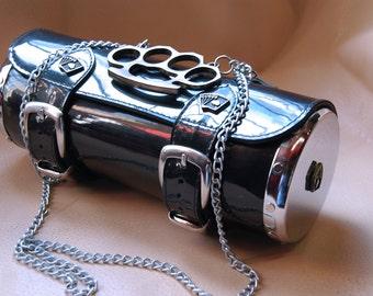 Rockabilly Gray cylinder bag, leather cylinder bag with metal side panel, leather purse, rockabilly style shoulder bag, gray bag