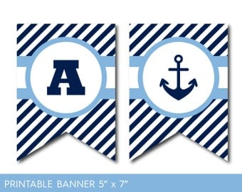Nautical bunting etsy blue and navy blue nautical banner nautical birthday nautical baby shower nautical bunting pronofoot35fo Choice Image