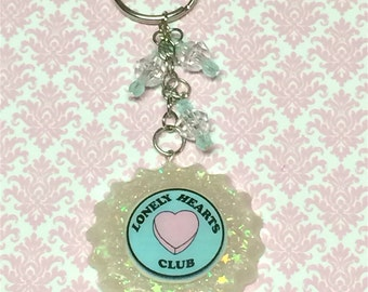 SALE! Tumblr Lonely Hearts Club Round Burst Kawaii Charm Keychain