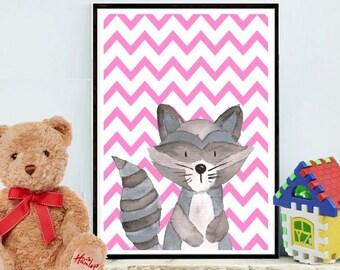 Raccoon Print, Nursery Decor, Animal Print, Raccoon Wall Art, Nursery Print, Printable Art, Wall Decor, Digital Download