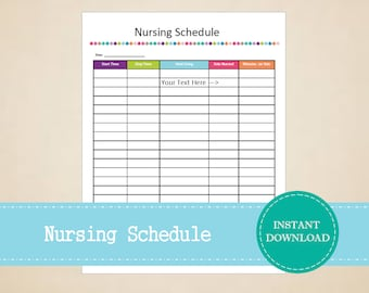 Nursing Schedule - Baby Planner - New Mom Planner - Printable and Editable - INSTANT PDF DOWNLOAD
