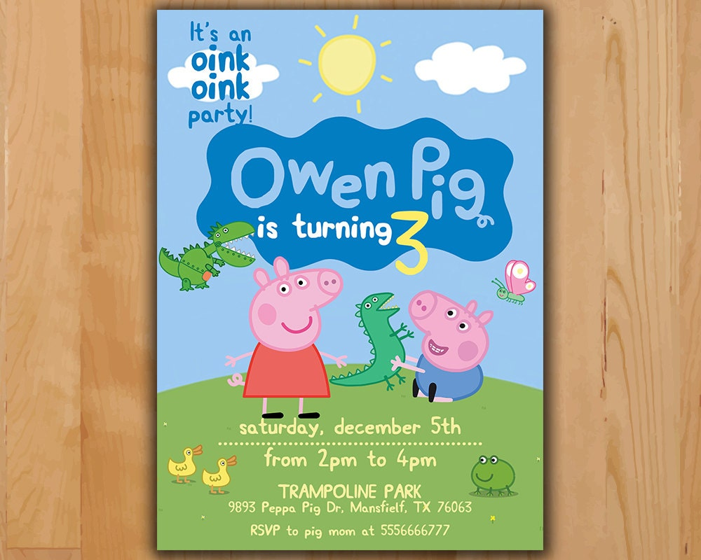 It is a graphic of Agile Peppa Pig Printable Invitations