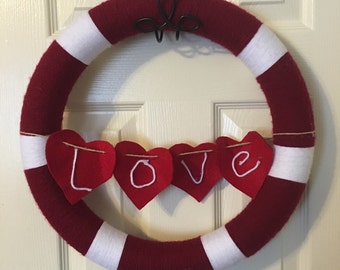 Valentines day wreath, red and white, hearts, love, yarn