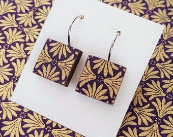 Beautiful purple and gold Japanese chiyogami paper drop earrings