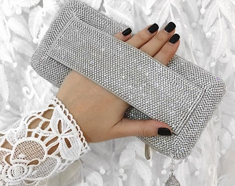 Silver embellished wedding clutch evening clutch bridal clutch bridesmaid clutch party clutch prom clutch bridesmaid gift wedding purse