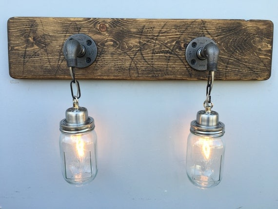 Rustic Industrial Modern Mason Jar Lights Vanity Light: Vanity Light Fixture 2 Country-Style Mason Jar Light By