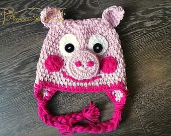 peppa pig hat, crochet peppa pig, halloween hat, baby animal hat, photo prop, crochet hat, Ηandmade Hat Peppa Pig, winter hat, character hat