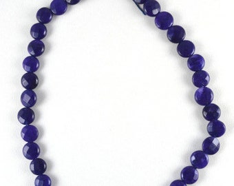 Navy Agate Flat Round Gemstone Faceted Beads 1 strand 40 PCs Size 10mm Hole Size 1mm Natural, healing, chakra, birthstone for Jewelry Making