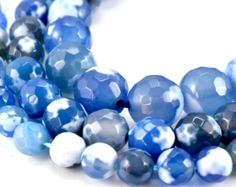 New Gemstone agate stone Beads 6mm,8mm,10mm Blue Cracker Agate Faceted Round loose birthstone natural Beads for jewelry  2mm hole opening