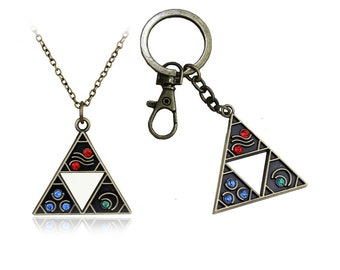 Triforce Necklace or Keychain in Bronze with Gems, Legend of Zelda Spritual Stones
