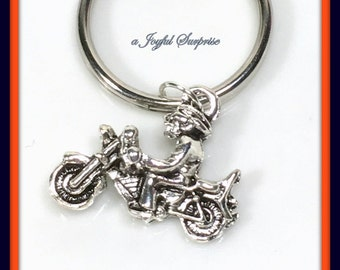 SALE - Motorcycle Keychain, Pewter Motorcycle Key Chain, Personalized Silver Motorcycle Gifts, Gift for Biker Keychain Biker's Keyring, 147
