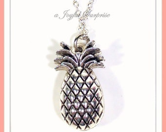 Pineapple Necklace, TTC Gift, Fruit Food Jewelry Silver Charm, Pewter Hawaii Pendant Conception long short 925 sterling chain vacation 199