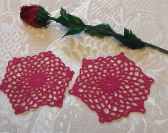 Crochet coaster , set of 2 crocheted doiles ,lace ,table decoration ,hostess gift .
