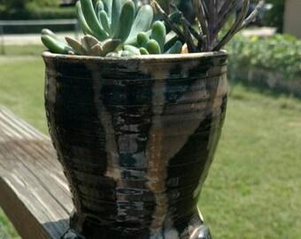 Handmade glazed ceramic planter, indoor or outdoor use.
