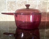 Vintage Corning Visions Cranberry Glass 1.5 Liter Pot 2 Piece Set