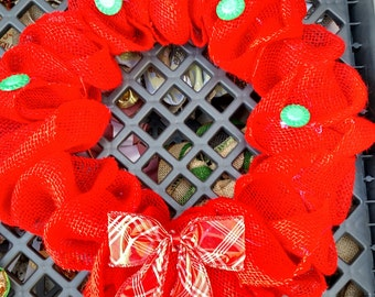 Red Burlap Christmas Wreath Buttons and Bows 14""
