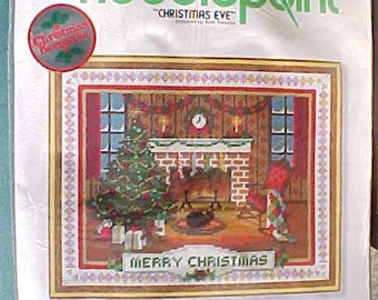 Sunset Needlepoint CHRISTMAS EVE Kit, 1977, Unopened