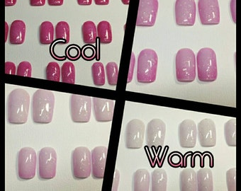 Thermal Color Changing Press on Nails | Pink Nails | Breast Cancer Awareness Press on Nails | Color Changing | Press on Nails | False Nails