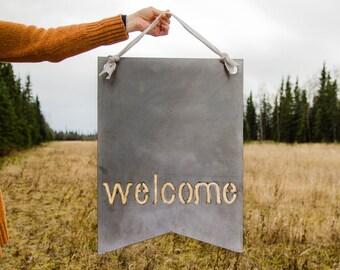 """Welcome- oversized metal pennant- raw steel (15.75""""w x 22""""h) (metal art, wall decor, front door, wreath)"""
