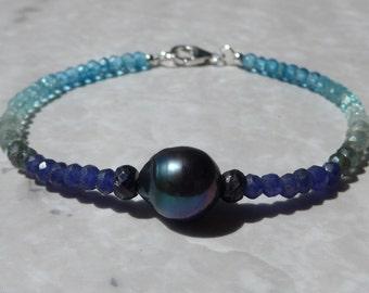 Blue Sapphire Bracelet, Black Pearl Bracelet, Ombre Bracelet, Shaded Blue Bracelet, Gemstone Bracelet, Aquamarine Bracelet, Blue Apatite