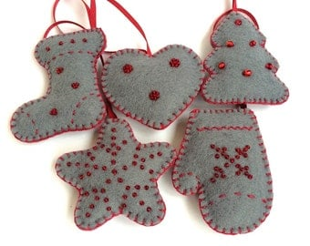 Christmas Felt Ornaments 5 set  Grey Red Christmas decor  Tree Ornaments Christmas presents