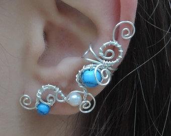 Boho ear cuff - Turquoise ear cuff - Wire wrap silver ear cuff, crawler, climber - With/Without piercing - Swirl ear cuff