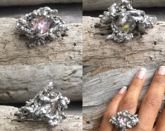 Silver ring, crystal ring, statmenr ring, Natural Seaweed casted in silver with a nested Swarovski crystals