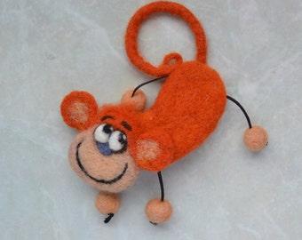 Animal brooch Monkey Felt animal jewellery orange gift for women Funny gift Monkey animal gift Cute Christmas gift for girl Pet lover gift