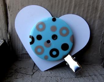 Blue & Brown Circle Button Hair Clip