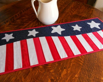 Quilted Stars and Stripes Table Runner/Americana Patriotic Table Runner