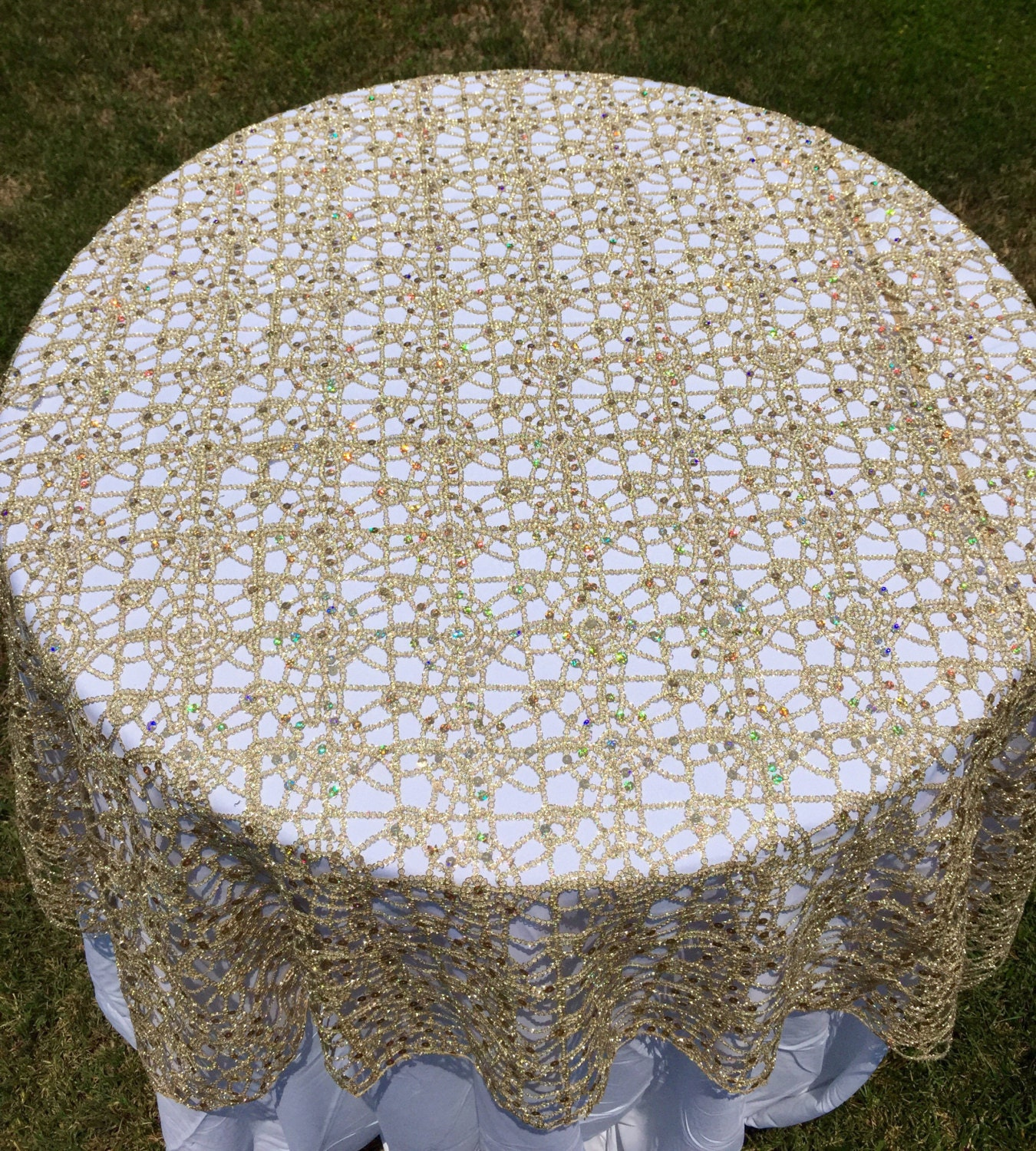 Gold Lace Tablecloth, Silver Sequence Chain Lace Table Overlay, Lace  Tablecloth, Wedding Decor, Table Runner, Table Cloth, Lace, Sequin