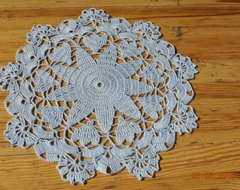 Crochet doily / lace / light blue (color Nr.10)/ 10 inches  (26 cm), D-8