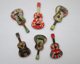 Guitar 6 wooden buttons 35 x 18 mm