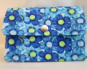 Purse blue floral woman wallet