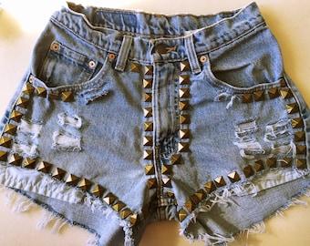 Vintage Studded High Waisted Shorts