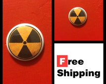 "Radioactive Fallout Symbol 1"" Button, FREE SHIPPING"