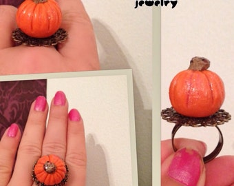 Pumpkin ring halloween jewelry