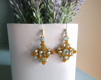Seed Beaded Earrings, Glass Bicone Crystal Earrings, Beaded Earrings, Bead Woven Earrings