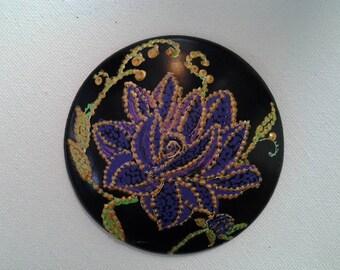"3"" diameter hand painted porcelain purse mirrors"