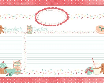 Printable // Instant dowload Christmas Cookie // Gingerbread recipe card