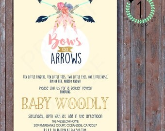 DIY Digital Download / Printable - Gender Reveal Party Invitation - Bows or Arrows? Feathers, Floral Theme - Rustic Theme Pink or Blue - 5X7