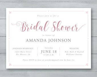 Bridal Shower Invitation  |  Bridal Shower Invite  |  Bride to Be Invitation