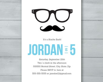 Mustache Hipster Birthday Party Invitation  |  Mustache Birthday Invite  |  Hipster Invitation  |  Hipster Birthday Invite