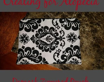 Damask Zippered Pouch with Red Lining